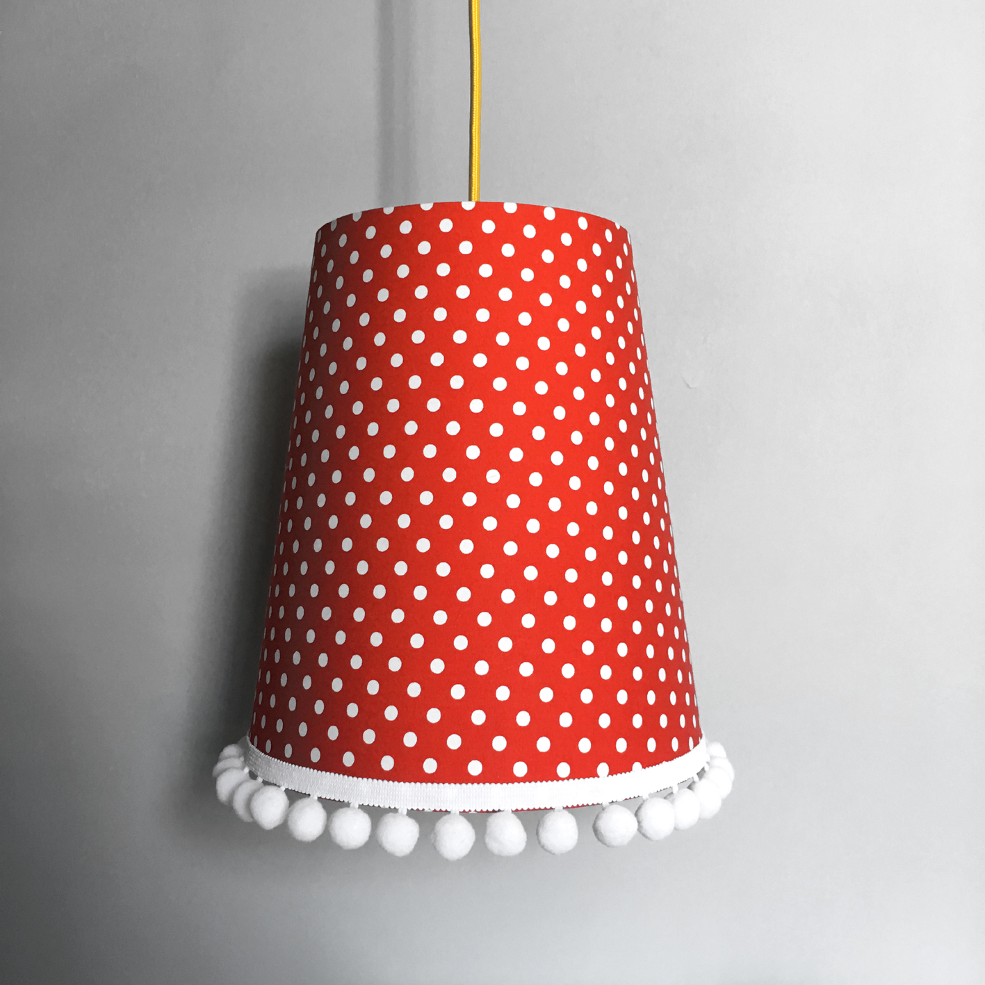 Pom Lampshade In Bright Red Polka Dots