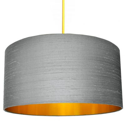 Ash Grey Silk Lampshade With Gold Lining
