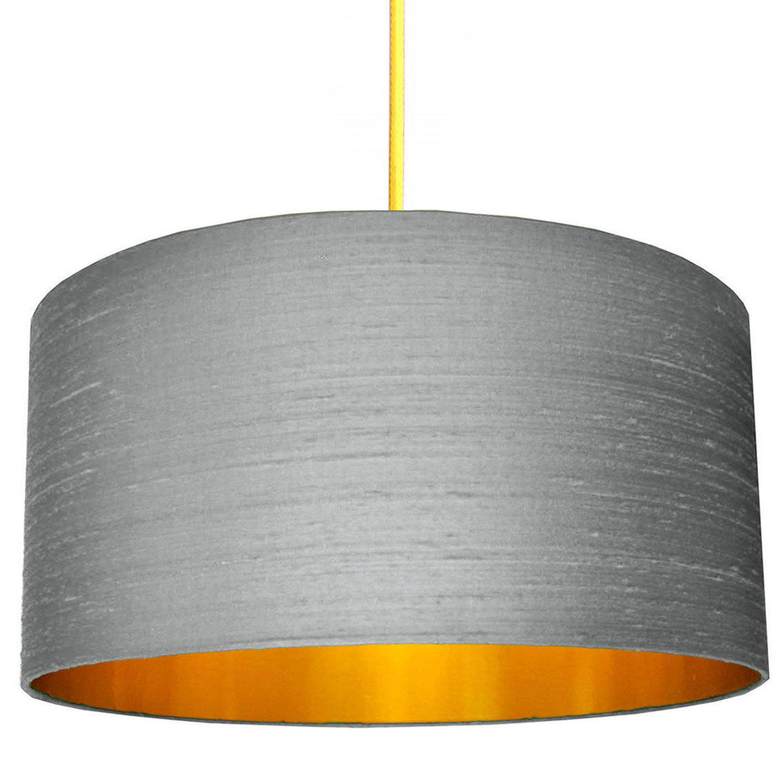 Indian Silk Lampshade In Ash Grey With Gold Lining Love