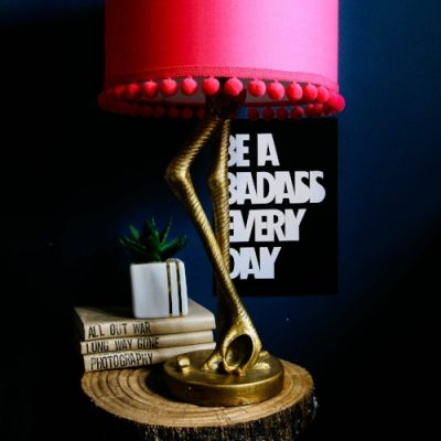 Flamingo Table lamp, adorned with pompoms over at Pati Robins Gaff