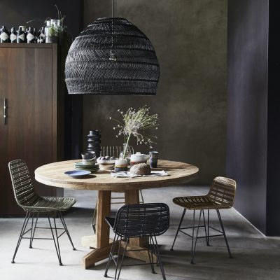 Woven Wicker Pendant Light - Black