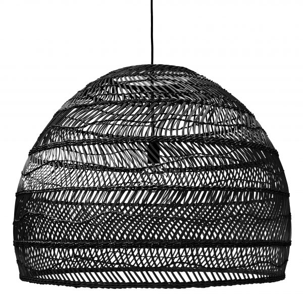 Woven Wicker Pendant Light - Black Large