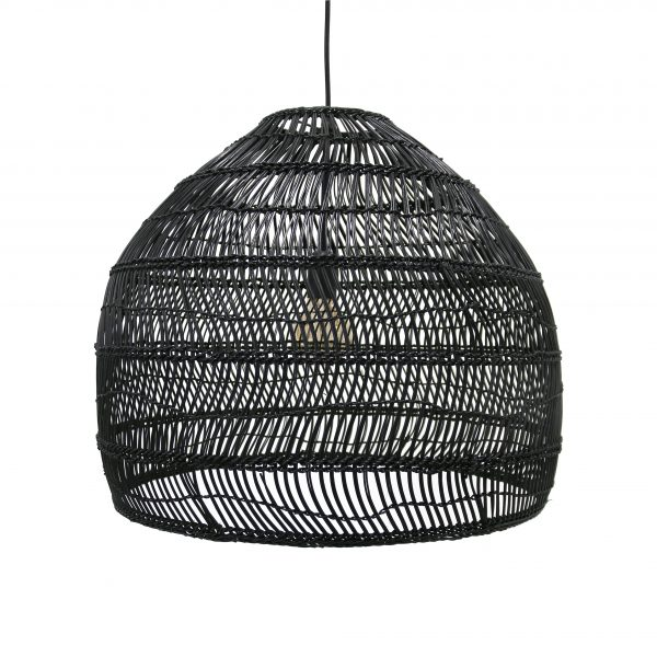 Woven Wicker Pendant Light - Black Medium