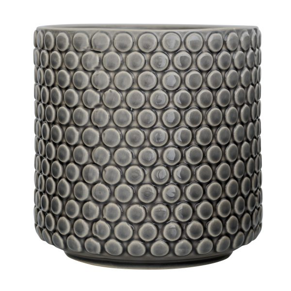 Grey Bubble dot Large Flower Pot