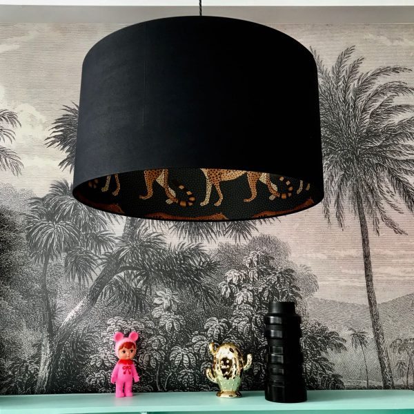 Leopard Walk Cole & Son Silhouette Lampshade in Jet Black.