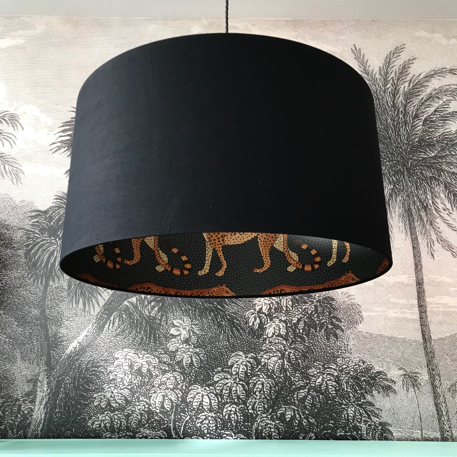 Leopard Walk Cole & Son Lampshade in Jet Black | Love Frankie