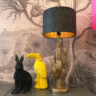 Black Mock Crocodile wallpaper lampshade with Gold lining