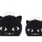 Set of 2 Black Cat Suitcases