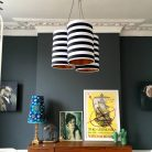 Cluster Chandelier in Circus Stripes with Metallic Gold Or Copper Lining