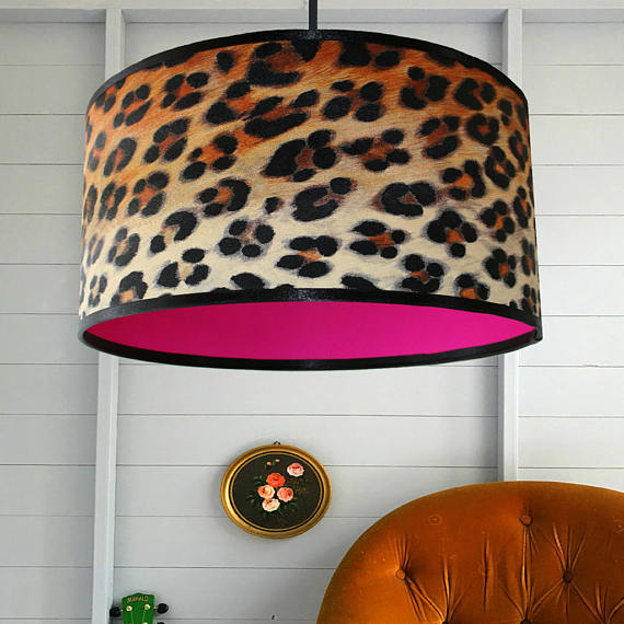 Wild Leopard Print Wallpaper Lampshade With Neon Pink