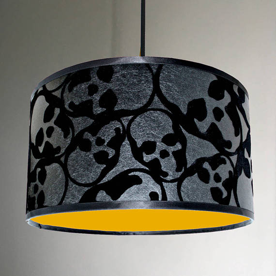 Flocked Skulls Wallpaper Lampshade With Neon Pink Lining