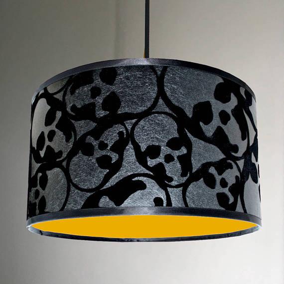 Barbara Hulanicki Flocked Skulls Wallpaper Lampshade With Neon Yellow Lining