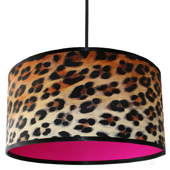 Wild Leopard Print lampshade with neon pink lining