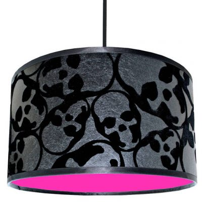Barbara Hulanicki Flocked Skulls Wallpaper Lampshade With Neon Pink Lining