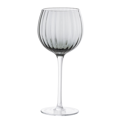 Ornate Grey Wine Glass in Smoke