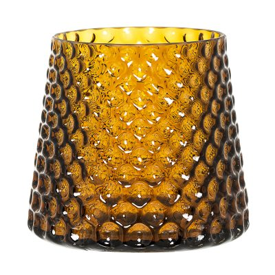 Bubble Dot Glass Flower Pot in Amber