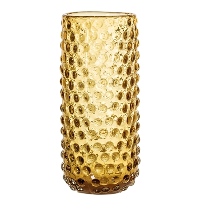 Bubble Dot Glass Vase in Amber