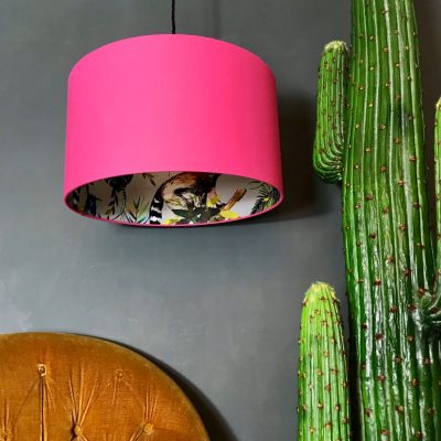 Silver Lemur Lampshade in Bubble Gum Pink.