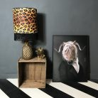 Wild Leopard Print Wallpaper Lampshade With Black Fringing