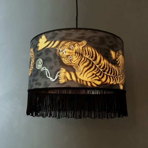 Tigris Tiger Lampshade with Gold Lining and Black Fringing