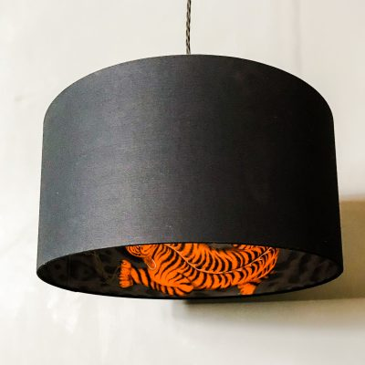 Tigris Tiger Silhouette Lampshade in Jet Black Cotton