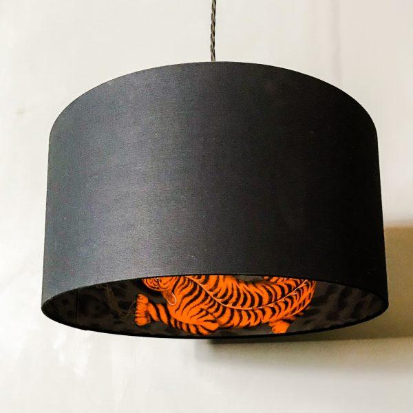 Tigris Tiger Silhouette Lampshade in Jet Black Cotton