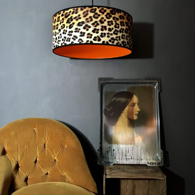 Wild Leopard Print Wallpaper Lampshade With Neon Orange Lining