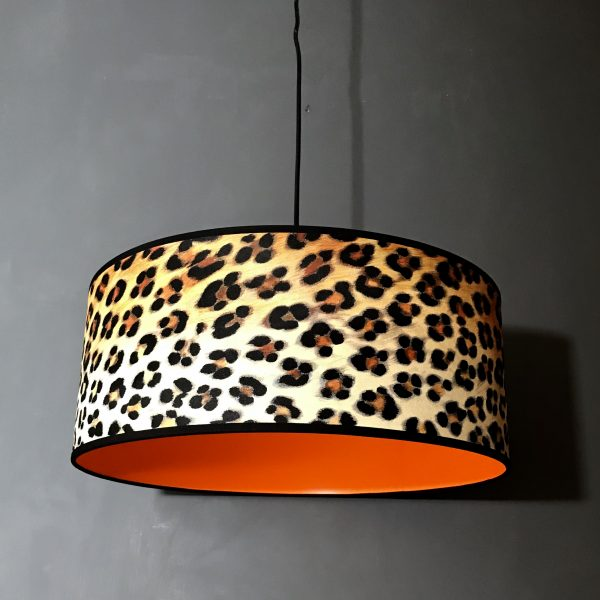 Wild Leopard Print Wallpaper Lampshade With Neon Orange Lining.