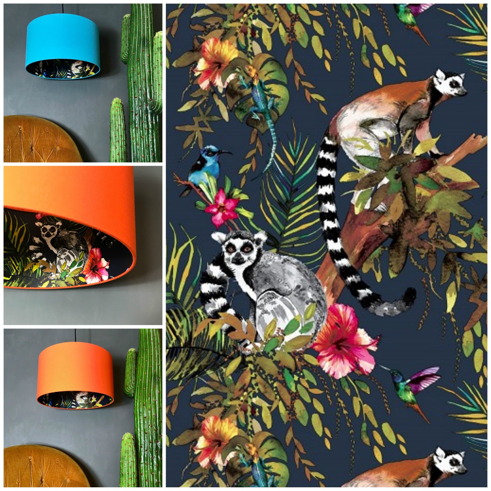 Lemur Wallpaper in Midnight blue with Tangerine or Sky Blue