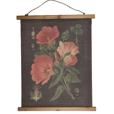 Botanical inspired Floral Wall Hanging- Red