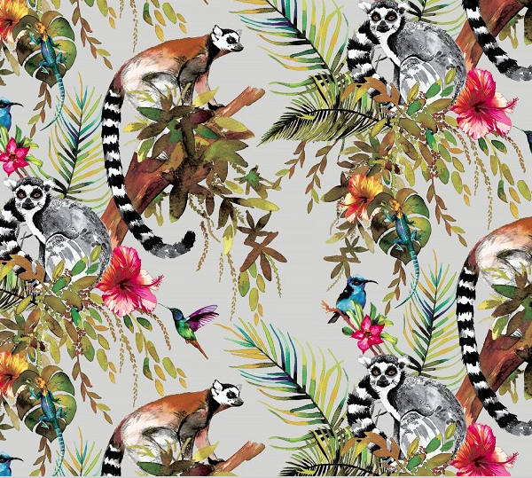 Kooky Lemur Wallpaper in Silver