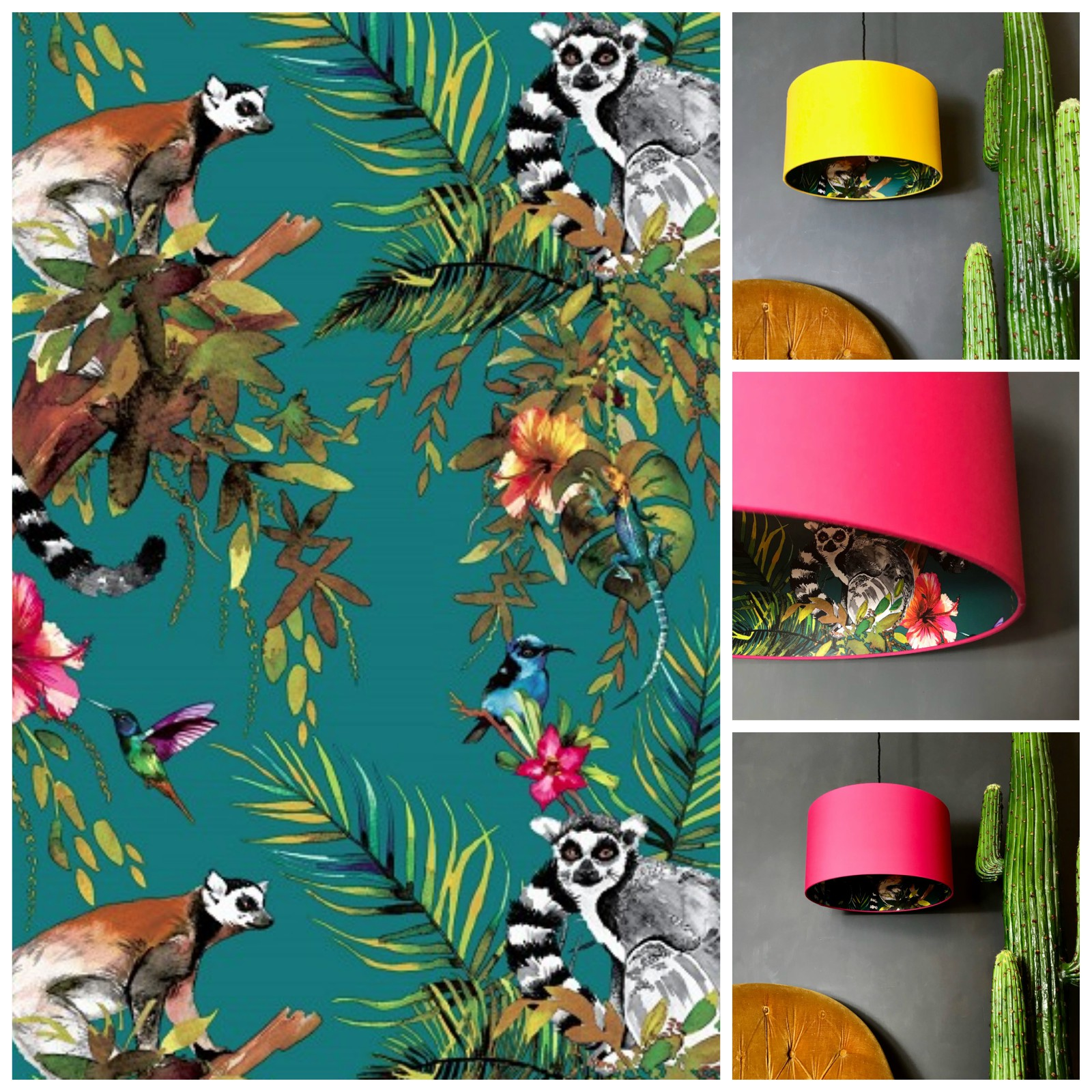 Lemur Wallpaper in Teal with Egg Yolk Yellow and Watermelon Pink