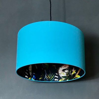Love Frankie Midnight Blue Lemur Silhouette Lampshade in Sky Blue