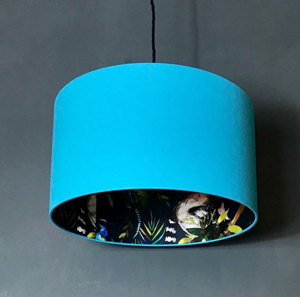 midnight blue and sky blue lemur lampshade