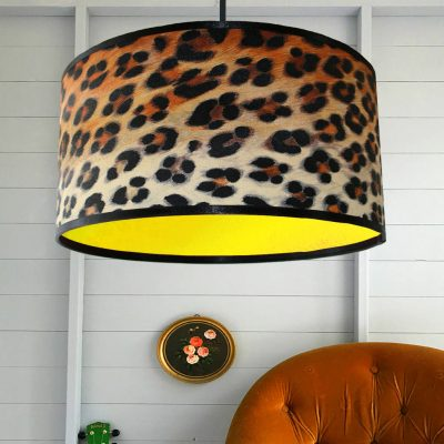 Leopard Print lampshade with bright neon yellow lining