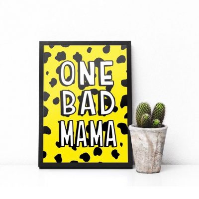 Typography Art Print One Bad Mama - Yellow
