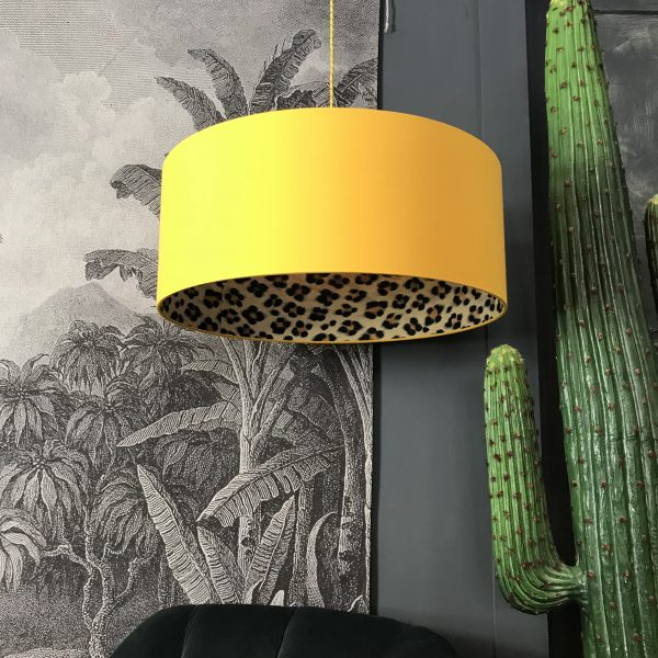 Wild Leopard print handmade Lampshade in Egg Yolk yellow