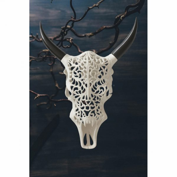 Carved Faux Bison Skull Wall Hanging