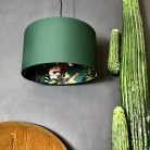 Teal lemur wallpaper lampshade in Hunter Green Cotton