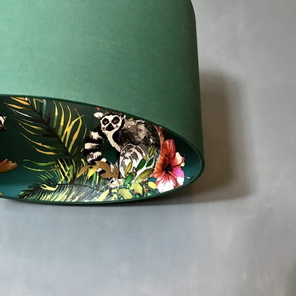Teal lemur wallpaper lampshade in Hunter Green Cotton Close Up