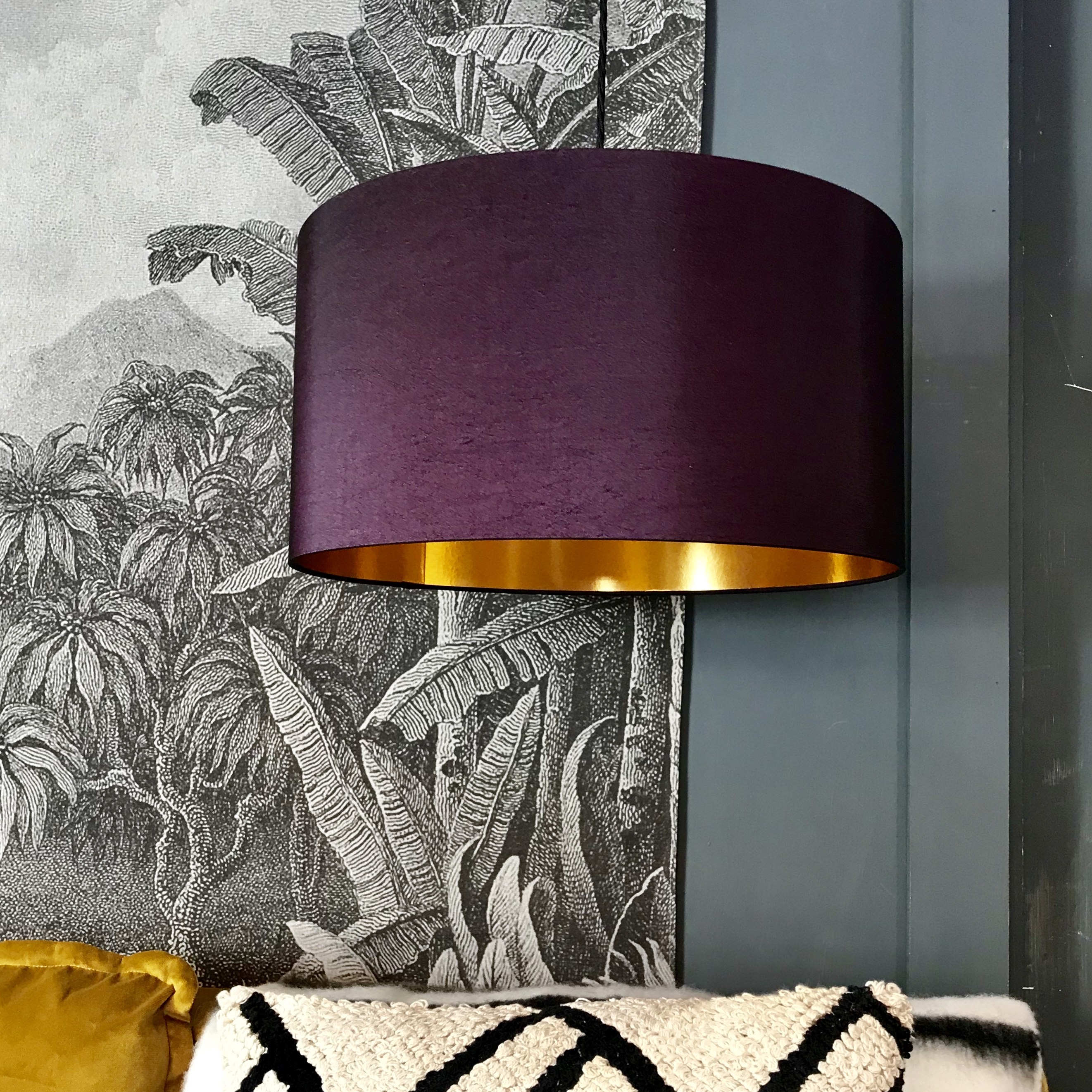 Damson Lampshade With Gold Lining Love Frankie
