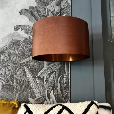 Tobacco and brushed copper handmade lampshade