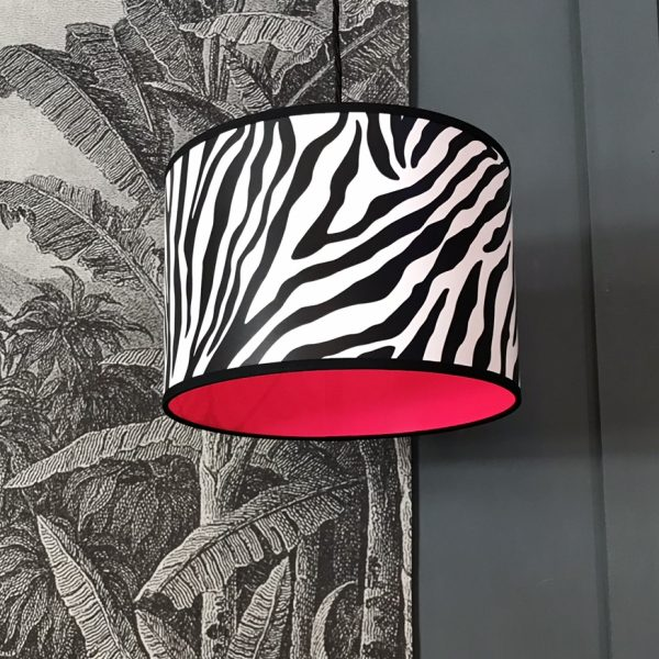 Wild Zebra Print Lampshade with Neon pink lining