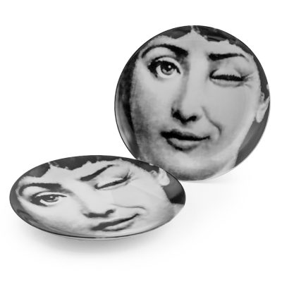 Fornasetti inspired winking lady display plate