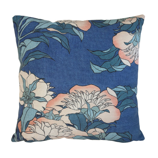 Japanese inspired floral cushion in blue and peach