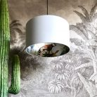 Silver kooky lemur wallpaper lampshade surrounded by Cloud Grey Cotton