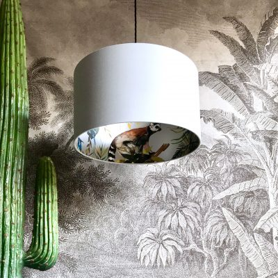 Cloud grey kooky lemur lampshade