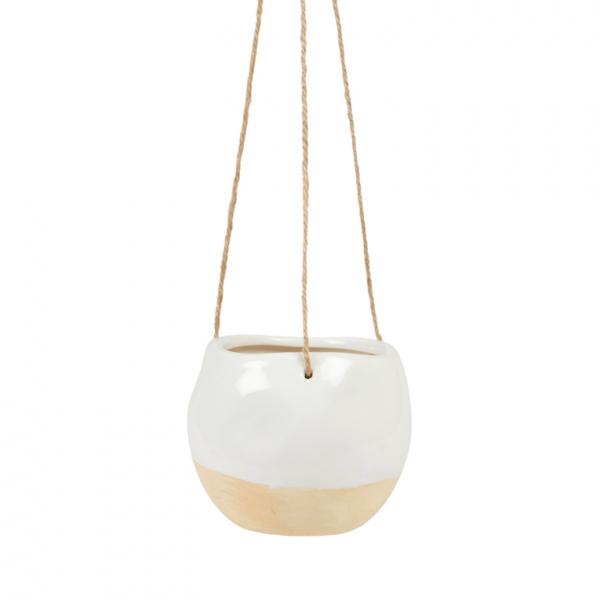 White Dipped Ceramic Hanging Planter