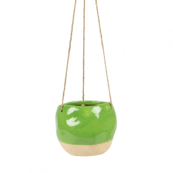 Green Dipped Ceramic Hanging Planter