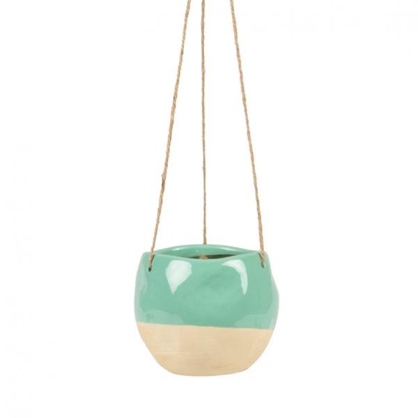 Turquoise Dipped Ceramic Hanging Planter